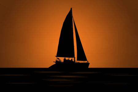 black silhouette of a sailboat in the sea against an orange light