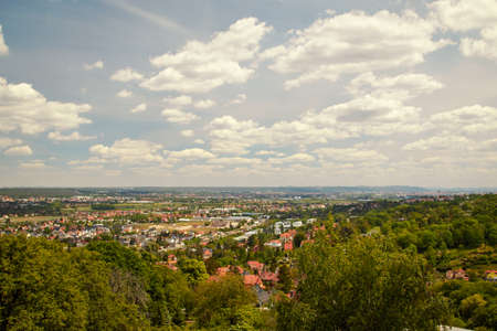 View over the village Cossebaude near dresden in the river elbe valley from the monument Bismarck Tower under cloudy sky