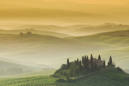 orcia: Early morning, San Quirico d´Orcia, Tuscany, Italy Stock Photo