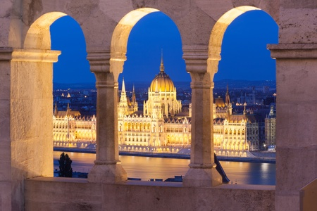 Parlament: Parlament at night, Budapest, Hungary Stock Photo