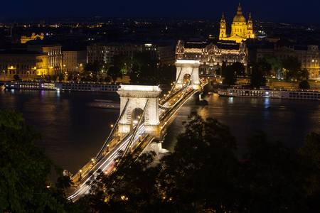 Chain Bridge from above, Budapest Stock Photo