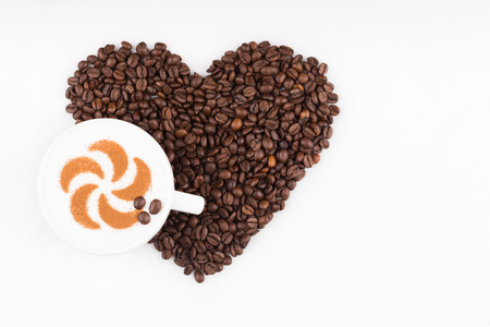 capuccino: Real capuccino decorated with cinnamon an coffee beans