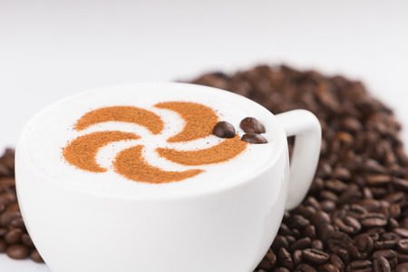 capuccino: Real capuccino decorated with coffee beans Stock Photo
