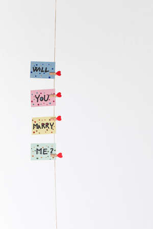 will you marry me: Will you marry me question pinned on rope