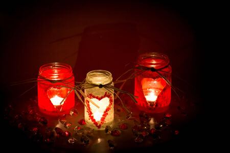 glass heart: handmade candlesticks with heart theme