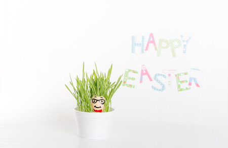 Easter decoration made of grass and egg-shell face with hair Stok Fotoğraf