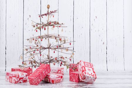 creative natural handmade christmas tree with gifts