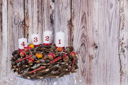 homemade wooden advent wreath made of natural materials