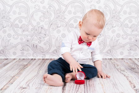 betrothal: Lovely baby boy pose with betrothal ring