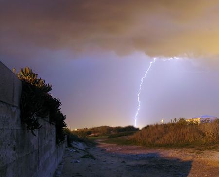 single thunder in the middle of the night and the image Stock Photo - 888304