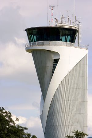 air traffic: air traffic control tower in the airport of bilbao, spain