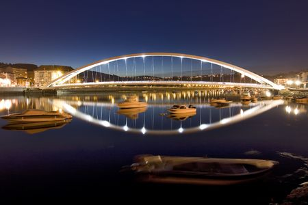 night image of a bridge in plentzia, a village in the north of spain