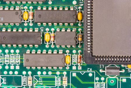image of chips in a circuit of a component of a computer photo