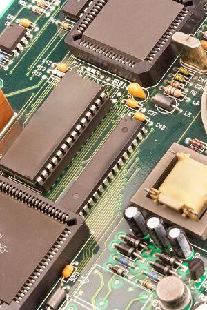 chip and pin: image of chips in a circuit of a component of a computer