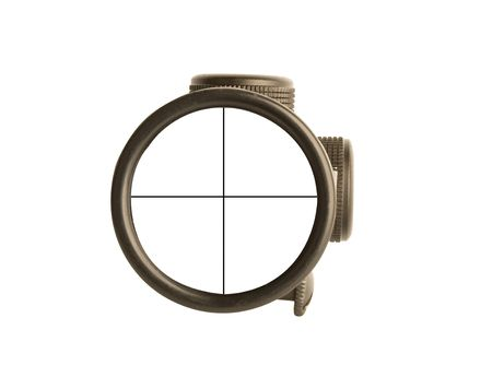 long range: Image of a rifle scope sight used for aiming with a weapon