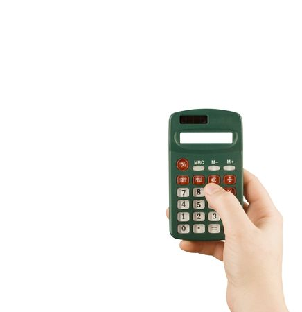 decimal: business financial calculator machine hold in woman hand Stock Photo