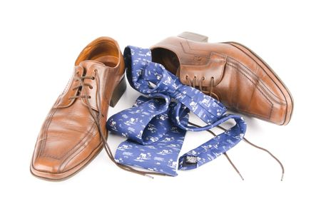 Business men luxury leather hand made shoes or brogues with shocks and tie Stock Photo - 3071755