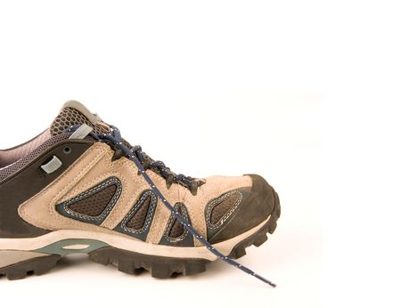 breathable: clothes hiking boots or shoes isolated on a withe background made of leather and waterproof and breathable membrane Stock Photo