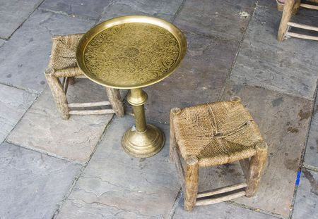 arab vintage table and chairs made of brass and wood Stock Photo - 3181774