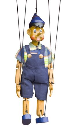 puppet theatre: wooden toy puppet marionette string controled pinocchio Stock Photo