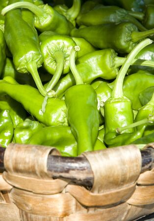 vegetal fresh green peepers inside of a wooden basket Stock Photo - 3515332