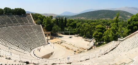 panorama of the famous construction of the ancient theatre of epidaurus photo