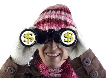 christmas woman holding and looking through binoculars Stock Photo