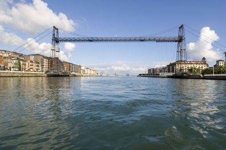 vizcaya: hanging bridge of portugalete is the oldest hanging bridge of the world and it is unesco patrimony of humanity