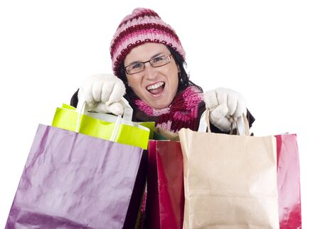 consumerist: Consumerist Christmas girl with bags in a shopping day