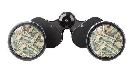dolar: cerca de una herramienta de prism�ticos aislados en un fondo blanco