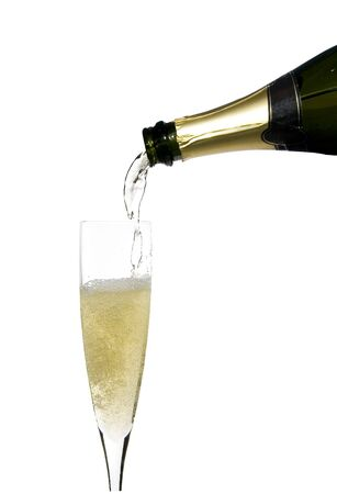 filling a glass cup with champagne wine isolated on withe background Stock Photo - 3813854