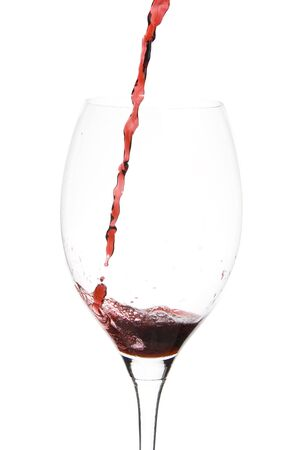 a clear glass of red wine isolated on white background Stock Photo - 3861926