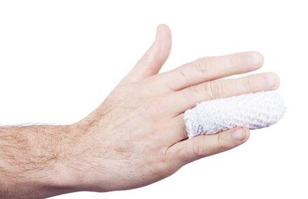 adn: dedo de la mano lesionada y se envolvi� en la mano y aisladas sobre fondo withe