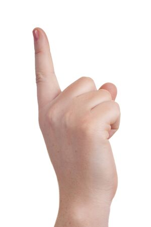 withe background: sign with the hand and fingers isolated over a withe background Stock Photo