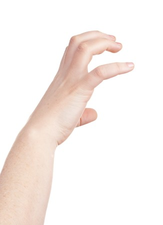 agression: sign with the hand and fingers isolated over a withe background Stock Photo