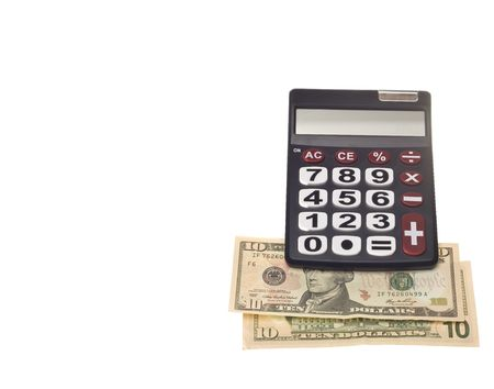 subtraction: a dark calculator machine with big numbers and  buttons Stock Photo