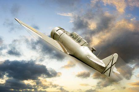 avion de chasse: mill�sime historique des avions de guerre dans un contexte Banque d'images