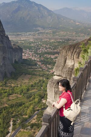 view of the meteora monasteries monuments travel destination in greece photo