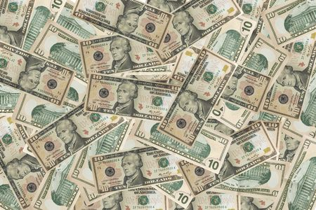 dolar: close up of a bank note of ten north american dollars Stock Photo