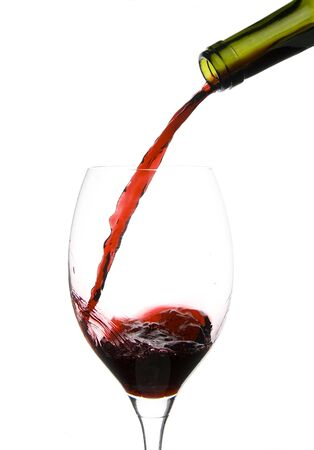 a clear glass of red wine isolated on white background Stock Photo - 5203346