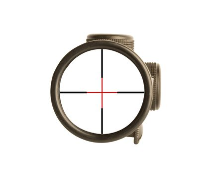 Image of a rifle scope sight used for aiming with a weapon photo