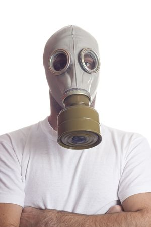 a man wearing a gas mask environment danger concept image Stock Photo - 5406091