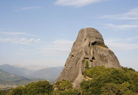thessalia: view of the meteora monasteries monuments travel destination in greece