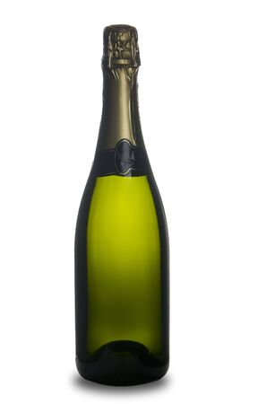 single bottle of champagne wine isolated on withe background