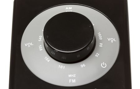fm: circle am fm tuner of a dark radio Stock Photo