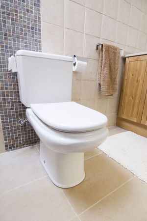 toilette: image of the inside of a bathroom with wc and toilette Stock Photo