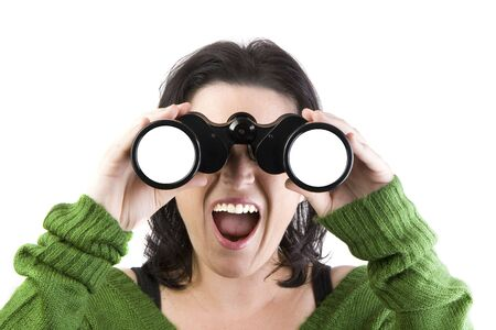 withe background: a woman watching through binoculars isolated over a withe background