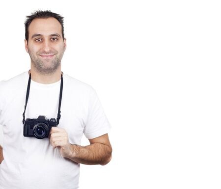 a photographer with a vintage analogic photographic camera isolated on withe background photo