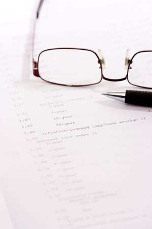 economist: business papers and tools tipical economist setting Stock Photo