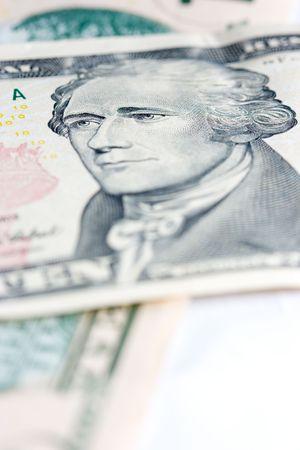 alexander hamilton: Close up di una nota banca di dieci dollari nord americani  Archivio Fotografico